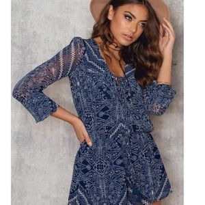THE JETSET DIARIES Moroccan Blue & White Romper